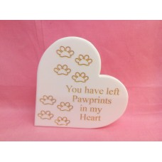 12mm white corian  pawprints heart